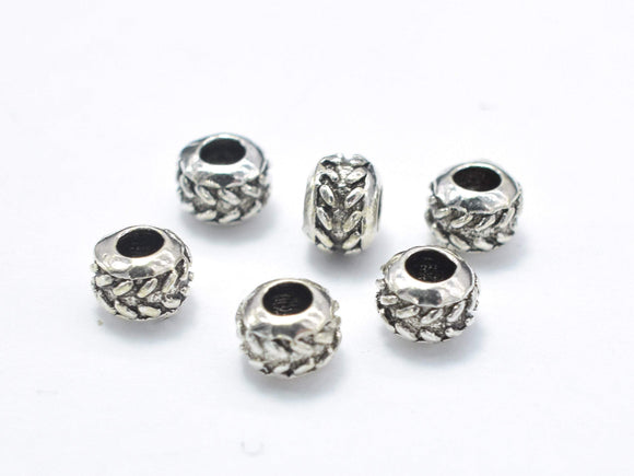 10pcs 925 Sterling Silver Beads-Antique Silver, 4mm Rondelle Beads, Spacer Beads, 4x3mm, Hole 1.8mm-BeadXpert