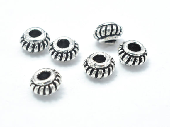8pcs 925 Sterling Silver Beads-Antique Silver, 5mm Rondelle Beads, Spacer Beads, 5x3mm Hole 1.8mm-BeadXpert