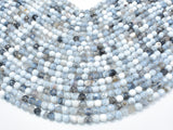 Dragon Vein Agate Beads, Gray & White, 6mm Faceted Round Beads-BeadXpert