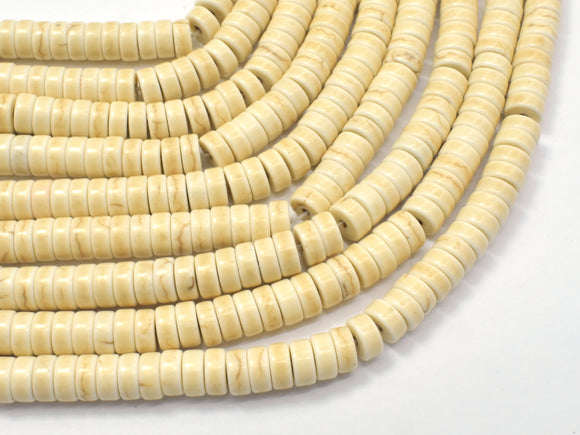 White Howlite Beads, 2.7x6mm Heishi Beads-BeadXpert