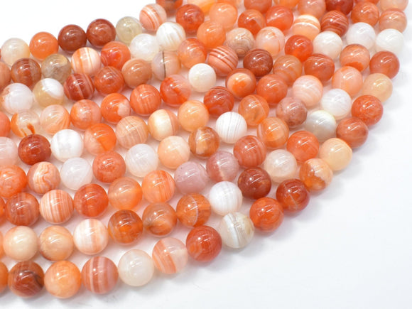 Orange Botswana Agate, 8mm(8.3mm) Round-BeadXpert