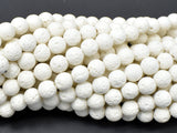 White Lava Beads, 8mm Round Beads, 14.5 Inch