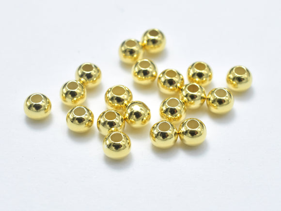 30pcs 24K Gold Vermeil 3mm Round Beads, 925 Sterling Silver Beads-BeadXpert