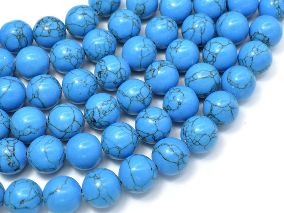 Howlite Turquoise Beads, Blue, 12mm Round Beads-BeadXpert