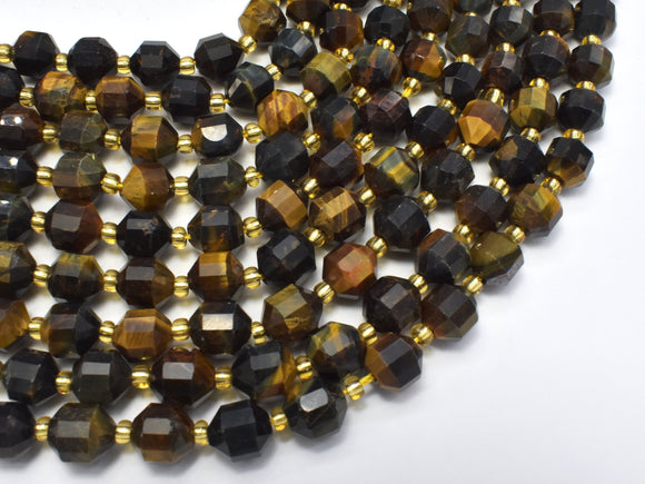 Blue Yellow Tiger Eye, 8mm Faceted Prism Double Point Cut