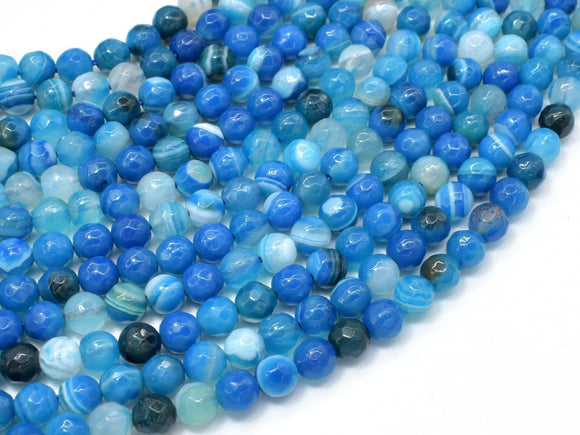 Banded Agate Beads, Striped Agate, Blue, 6mm Faceted Round-BeadXpert
