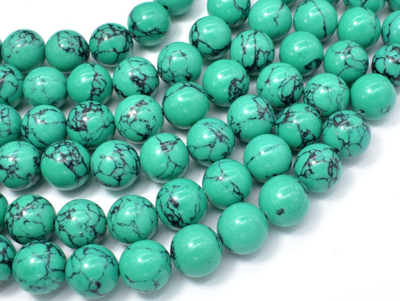 Howlite Turquoise Beads-Green, 12mm Round Beads-BeadXpert