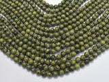 Alligator Skin Jasper Beads, Green Brecciated Jasper, Round, 6mm