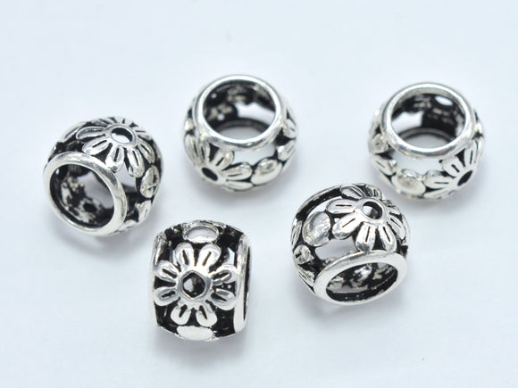 2pcs 925 Sterling Silver Beads-Antique Silver, Big Hole Rondelle Beads, Spacer Beads