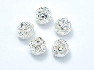 8mm 925 Sterling Silver Beads, 8mm Round Beads, 4pcs-BeadXpert