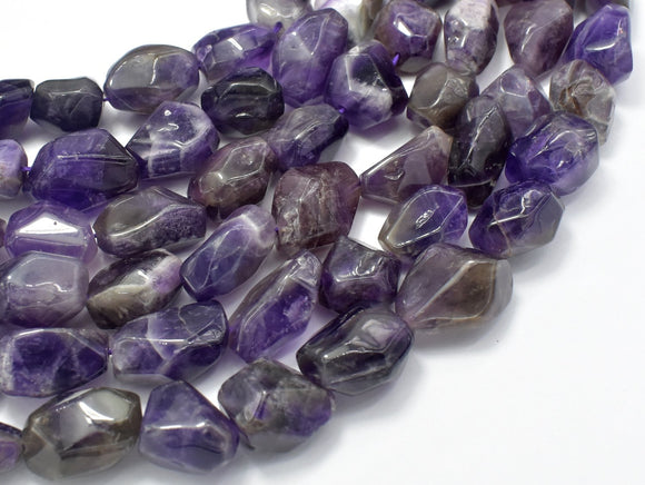 Amethyst, Approx 12 x 18mm Faceted Nugget Beads-BeadXpert