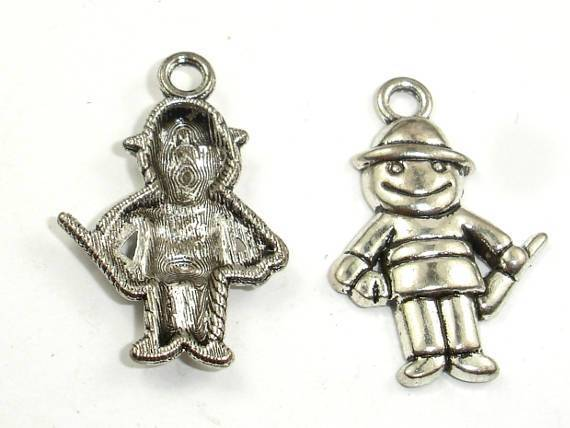 Boy Charms, Metal Pendants, Zinc Alloy, Antique Silver Tone, 18x27 mm, 10 pcs