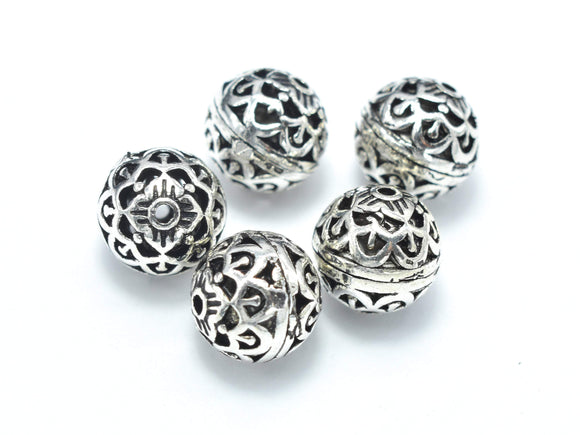 2pcs 925 Sterling Silver Beads-Antique Silver, 8mm Round Beads, Spacer Beads, Hole 1mm-BeadXpert