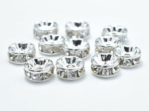 Rhinestone, 6mm, Finding Spacer Round,Clear,Silver plated Brass-BeadXpert