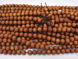 Matte Sandalwood Beads, 8mm Round Beads, 35 Inch-BeadXpert