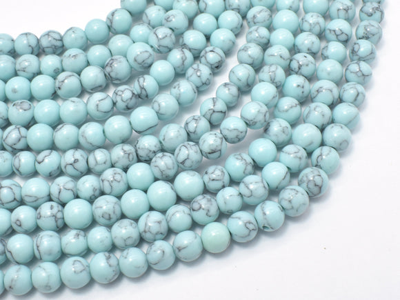 Turquoise Howlite-Light Blue, 6mm Round Beads-BeadXpert