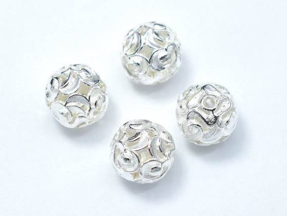 10mm 925 Sterling Silver Beads, 10mm Round Beads, 2pcs