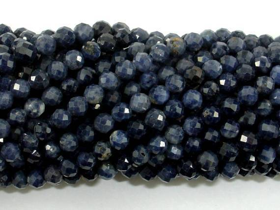 Blue Sapphire Beads, 3mm(3.5mm) Faceted Round, 15.5 Inch-BeadXpert
