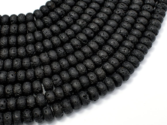 Black Lava Beads, 4x6mm Rondelle Beads-BeadXpert