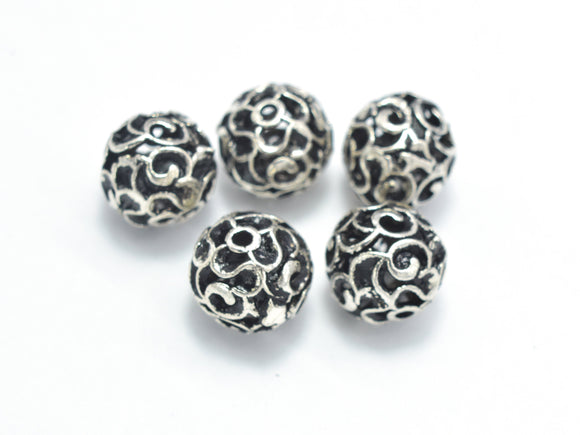 4pcs 925 Sterling Silver Beads-Antique Silver, 7.8mm Round Beads, Spacer Beads,Hole 1mm-BeadXpert