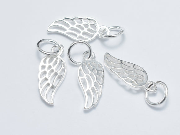 4pcs 925 Sterling Silver Charm, Angel Wing Charm, 6x15mm-BeadXpert