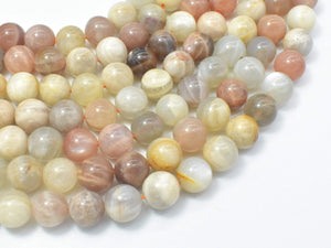 Mixed Moonstone Sunstone-Peach, White, Gray, 10mm (10.3mm) Round-BeadXpert