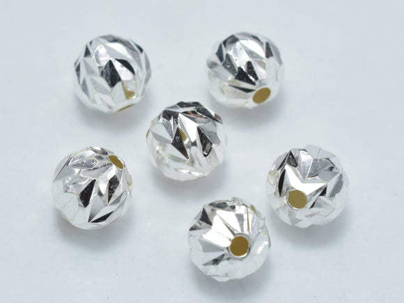 6pcs 6mm 925 Sterling Silver Beads, 6mm Faceted Round Beads-BeadXpert