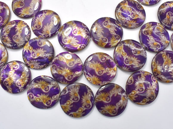 Mother of Pearl Beads, Shell, 30mm Coin Beads-BeadXpert