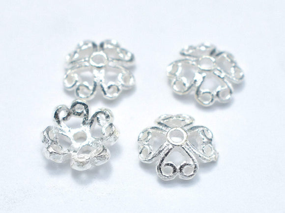 7.5mm 925 Sterling Silver Bead Caps, 7.5x2.5mm Flower Bead Caps, 10pcs