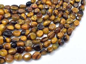 Tiger Eye, 6x8mm Nugget Beads, 15.5 Inch-BeadXpert