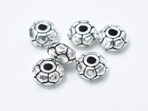 8pcs 925 Sterling Silver Beads-Antique Silver, 5mm Rondelle Beads, Spacer Beads, 5x2.4mm Hole 1.4mm-BeadXpert