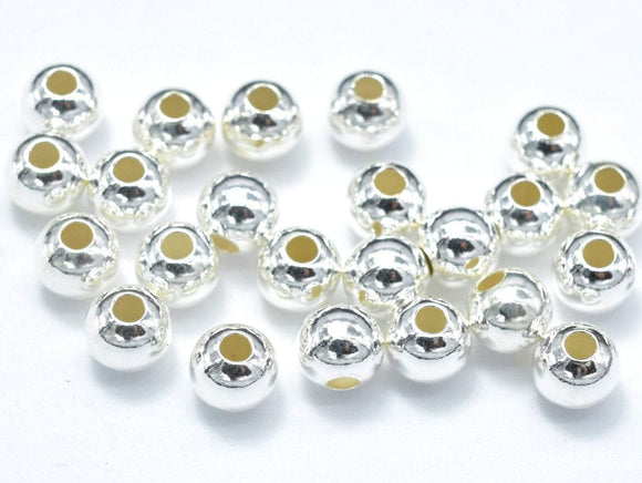 20pcs 925 Sterling Silver Beads, 4mm Round Beads-BeadXpert