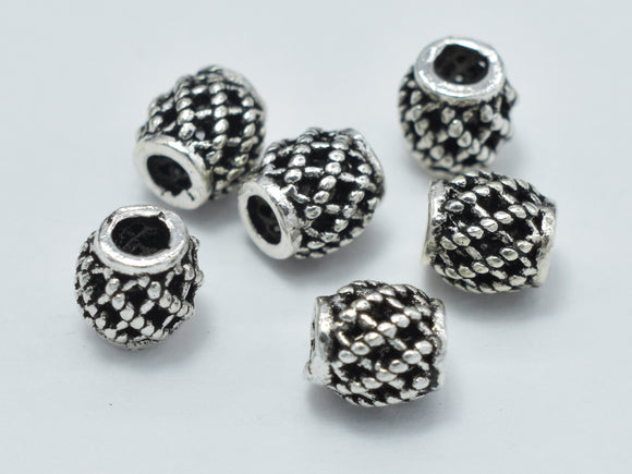 10pcs 925 Sterling Silver Beads-Antique Silver, Drum Beads, Spacer Beads, 4x4.3mm