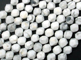 White Howlite Beads, 8mm Star Cut Faceted Round, 14.5 Inch-BeadXpert