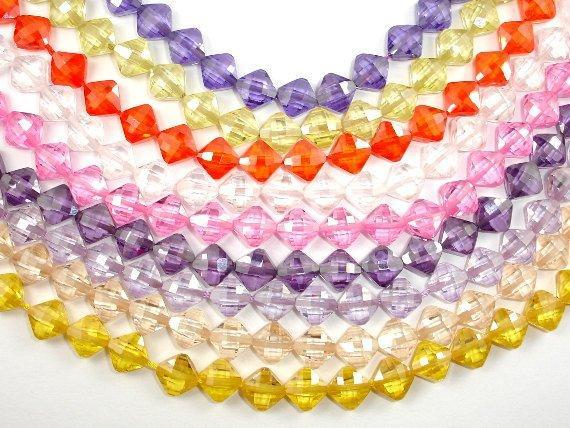 Cubic Zirconia Beads, CZ beads, 6 x 6 mm Faceted Diamond Beads, 6 Inch-BeadXpert
