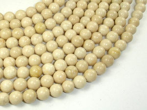 White Fossil Jasper Beads, 8mm (8.5mm) Round Beads-BeadXpert