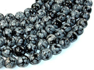 Snowflake Obsidian Beads, 12mm Round Beads-BeadXpert