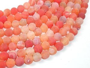 Frosted Matte Agate Beads, Orange, 10mm Round Beads-BeadXpert