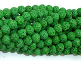 Green Lava Beads, Round, 8mm-BeadXpert
