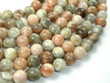 Peach / Gray Mix Moonstone, 12mm Round Beads,-BeadXpert