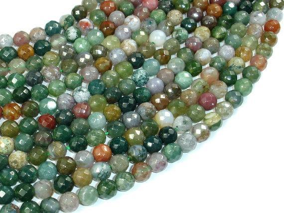 Indian Agate Beads, Fancy Jasper Beads, 6mm Faceted Round Beads-BeadXpert