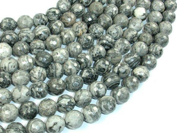 Gray Picture Jasper Beads, 10mm Faceted Round Beads-BeadXpert
