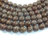 Brown Snowflake Obsidian Beads, 12mm Round Beads-BeadXpert