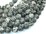 Black Fossil Jasper Beads, 14mm Round Beads, 15.5 Inch-BeadXpert