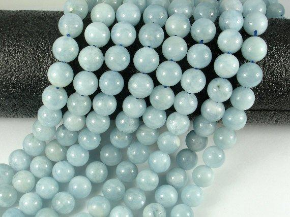 Genuine Aquamarine Beads, 10mm Round Beads-BeadXpert