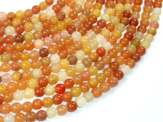 Genuine Old Yellow Jade Beads, 6mm-BeadXpert