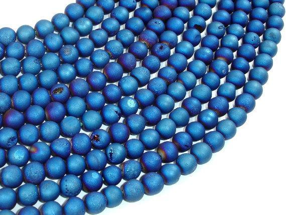 Druzy Agate Beads, Blue Geode Beads, 6mm, Round-BeadXpert