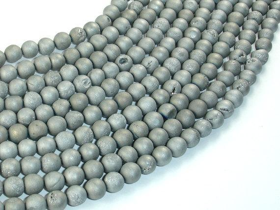 Druzy Agate Beads, Silver Gray Geode Beads, 6mm Round Beads-BeadXpert
