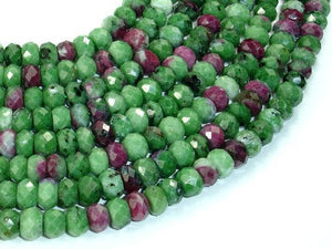 Ruby Zoisite Beads, Approx 4.5mm x 7mm Faceted Rondelle Beads-BeadXpert