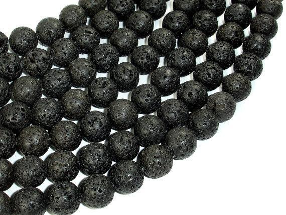 Black Lava Beads, 12mm Round Beads-BeadXpert